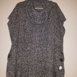 Woman Within 3X Button-Side Cowelneck Sweater Vest